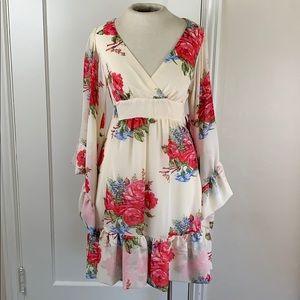 Betsey Johnson ivory floral rose bell sleeve dress
